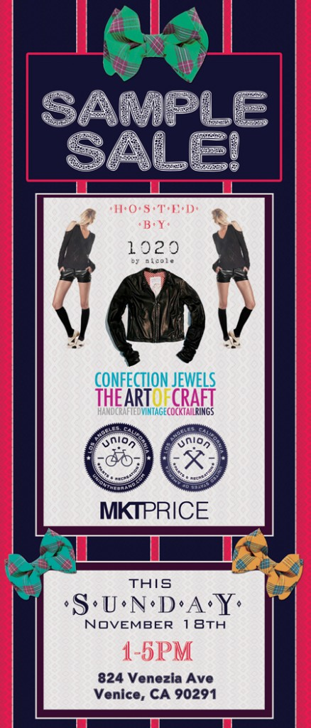 1020 & confection jewels sample sale flyer