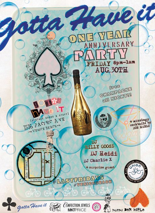 one year anniversary party flyer