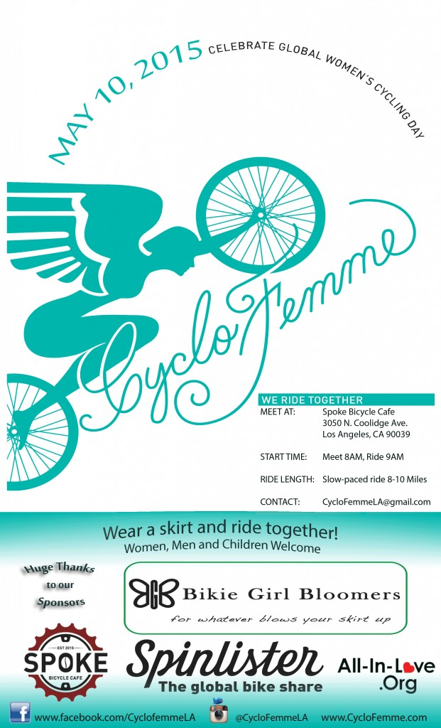 A poster for the CycloFemme, All women, ride located in LA